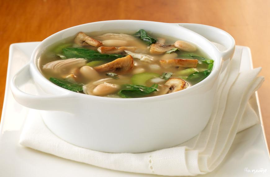 Грибной суп на курином бульоне